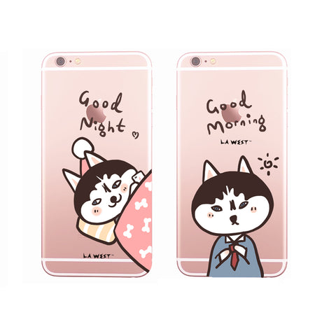 Phone case Husky Couple Good Night Painted