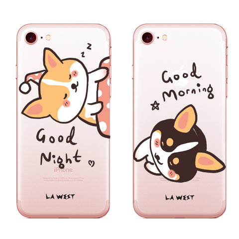 Phone case Corgi Couple Good Morning Painted