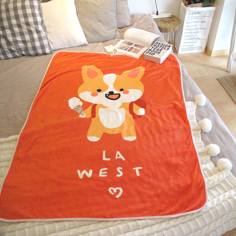 LA WEST Throw Medium size Corgi 100*140 cm