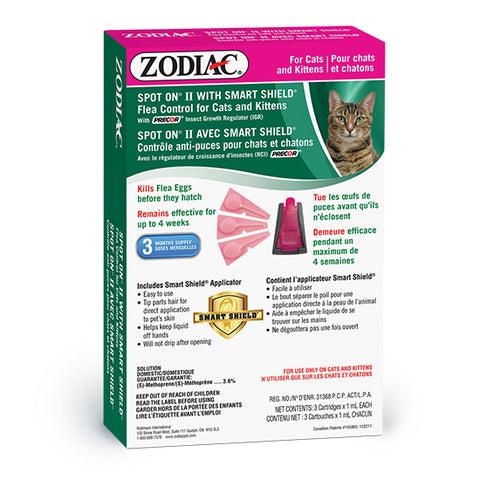 ZODIAC® SPOT ON® II WITH SMART SHIELD® FLEA CONTROL FOR CATS & KITTENS – WITH PRECOR® INSECT GROWTH REGULATOR (IGR)