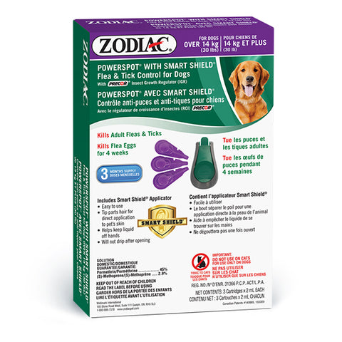 ZODIAC® POWERSPOT® WITH SMART SHIELD® FLEA & TICK CONTROL FOR DOGS OVER 14 KG (30 LBS) – WITH PRECOR® INSECT GROWTH REGULATOR (IGR)