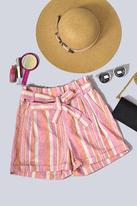 Linen stripe shorts