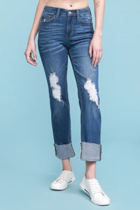 Destroyed Cuffed Jeans