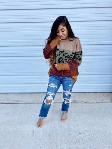 Olive Cheetah Sweater