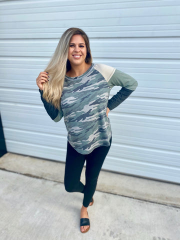 Camo Sleeved Blouse