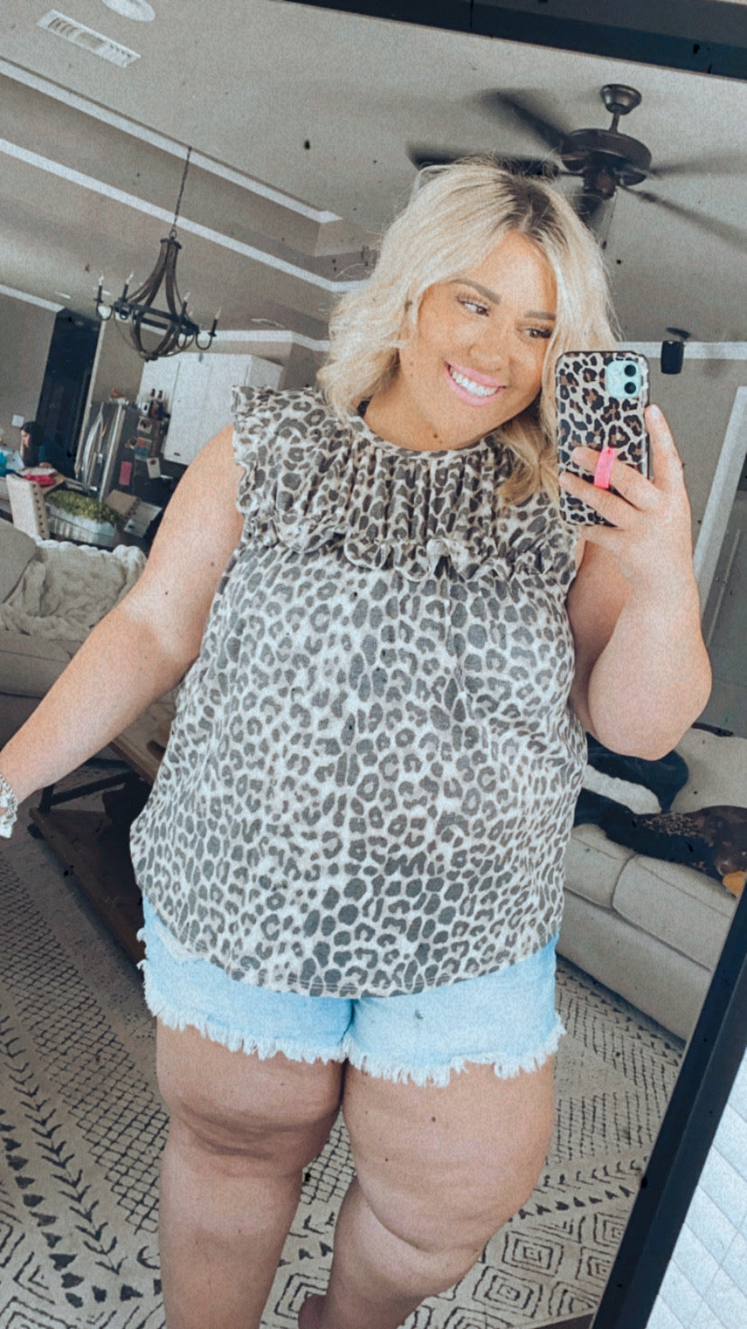 Ruffled Leopard Blouse