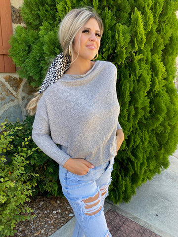 Grey High-Neck Sweater