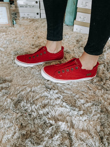 RED distressed sneaks