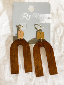 wooden oak earrings