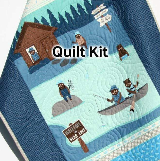 Kristin Blandford Designs Baby Quilt Kit Bears Quilt Kit, Baby Blanket Panel, Quick Easy, Quilting Project, Lake Fishing Lodge