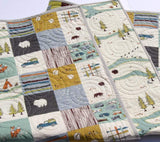 Kristin Blandford Designs Baby Quilt Kit Camp Sur Quilt Kit, Panel Cheater Top Wholecloth Simple Quick