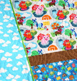 Kristin Blandford Designs Baby Quilt Kit Farm Quilt Kit, Barnyard Animals Bedding, Quilting Ideas, Pig Horse Blanket, Boy or Girl Nursery