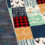 Kristin Blandford Designs Baby Quilt Kit LAST CALL Quilt Kit, Woodland Boy Rustic Colorful Buffalo Plaid, Twin Quilt Kit, Scrappy