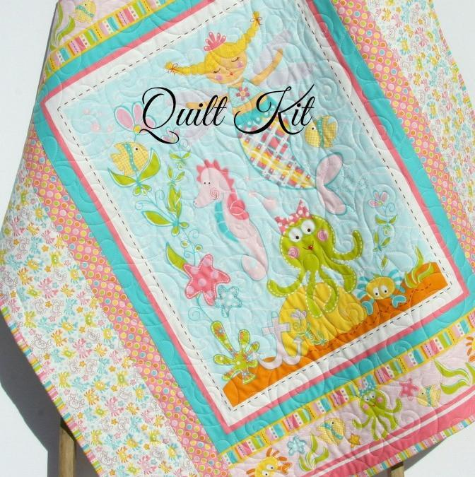 Kristin Blandford Designs Baby Quilt Kit Magical Mermaids Quilt Kit, Ocean Sea Nautical, Baby Bedding Project