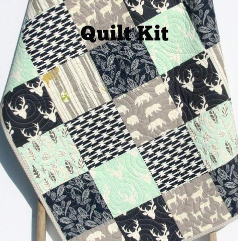 Kristin Blandford Designs Baby Quilt Kit Mint Woodland Quilt Kit, Buck Deer Bedding Navy Blue Toddler Baby