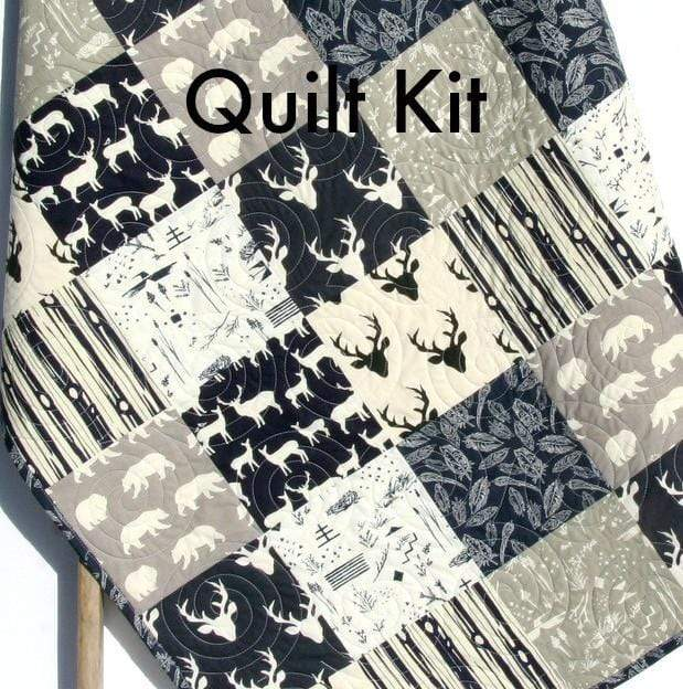 Kristin Blandford Designs Baby Quilt Kit Navy Woodland Quilt Kit, Baby or Toddler Bed Sizes DIY Project