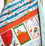Kristin Blandford Designs Baby Quilt Kit Oh the Places You'll Go Quilt Kit Dr Seuss Stripes Panel Blanket, Baby Project