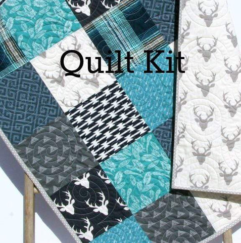 Kristin Blandford Designs Baby Quilt Kit Plaid Woodland Quilt Kit, Deer Aztec Feathers, Navy Blue Teal Gray Boy Nursery