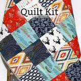 Kristin Blandford Designs Baby Quilt Kit Quilt Kit, Baby Kit Woodland Boy Rustic Navy Blue Red, Throw and Twin Quilt Kit
