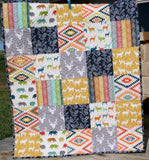 Kristin Blandford Designs Baby Quilt Kit Quilt Kit, Boy Aztec Woodland Rustic Colorful Boy Navy Blue Yellow Deer