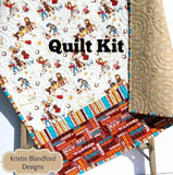 Kristin Blandford Designs Baby Quilt Kit Quilt Kit Cowboy Western Boy Striped Quick Beginner Project Brown Horse Horseshoes Simple Quilt Kit