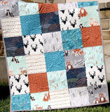 Kristin Blandford Designs Baby Quilt Kit Quilt Kit, Hello Bear Woodland Boy Rustic, Bears Fox Deer Arrows Forest