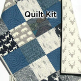 Kristin Blandford Designs Baby Quilt Kit Quilt Kit, Woodland Boy Rustic Buffalo Plaid, Twin Quilt Kit, Gift for Him