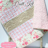 Kristin Blandford Designs Baby Quilt Kit Quilt Kits for Beginners, Farmhouse Plaid, Pink Vintage Floral, Projects for you to Make, Baby or Toddler, Floral Gift