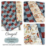 Kristin Blandford Designs Baby Quilt Kit Western Baby Girl Quilt Kit, Lil Cowgirl, Bandana Faux Patchwork Panel, Beginner Quilt Kit