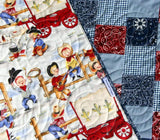 Kristin Blandford Designs Baby Quilt Kit Western Baby Quilt Kit, Lil Cowpoke, Cowboy Wagon Camp Fire, Bandana Patchwork Panel