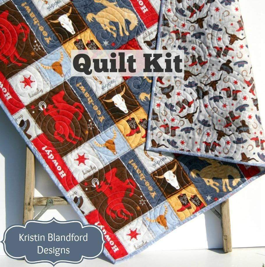 Kristin Blandford Designs Baby Quilt Kit Western Quilt Kit, Learning the Ropes Cowboy Quilting Project