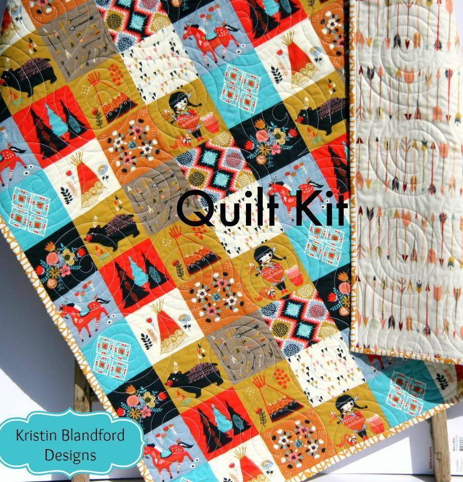 Kristin Blandford Designs Baby Quilt Kit Wildwood Quilt Kit, Panel Cheater Top Wholecloth Woodland Arrows Tribal Aztec Teepees Bears