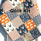 Kristin Blandford Designs Baby Quilt Kit Woodland Boy Quilt Kit, Orange Nursery Bedding, Arrows Deer Buck Teepee