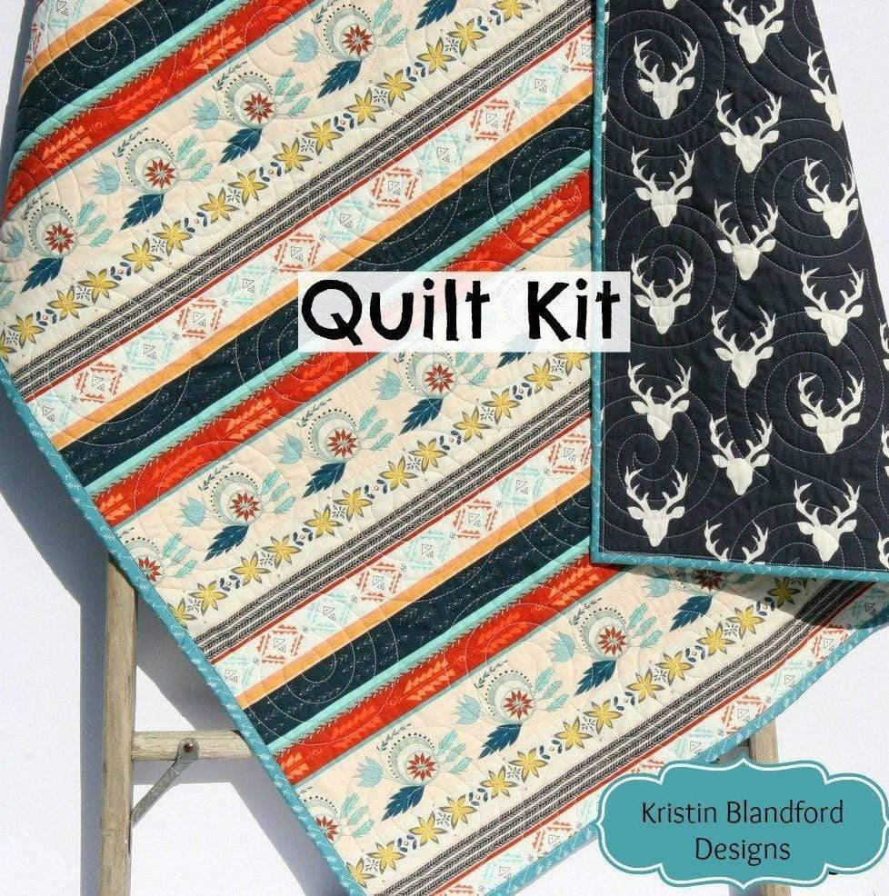 Kristin Blandford Designs Baby Quilt Kits Aztec Deer Quilt Kit, Tribal Baby Bedding Blanket Project, Art Gallery Fabrics, Navy Blue Red Teal Boy or Girl, Wholecloth Panel Cheater