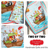 Kristin Blandford Designs Baby Quilt Kits Baptism Quilt Kit, Biblical Bedding, Noah's Ark Fabrics Two by Two Boy or Girl, Animals Quilt Kit, Panel Beginner Kit DIY Project Easy Idea