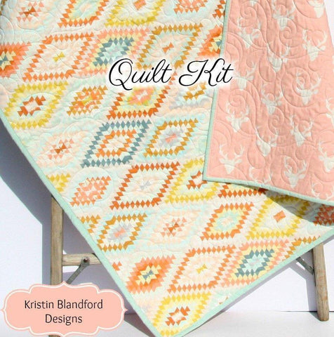 Kristin Blandford Designs Baby Quilt Kits Boho Serape Quilt Kit, Wholecloth Panel Cheater, Quilting Project, Aztec Tribal Bucks, Deer Fawn, Girl Nursery Bedding, DIY Pink Teal Gold