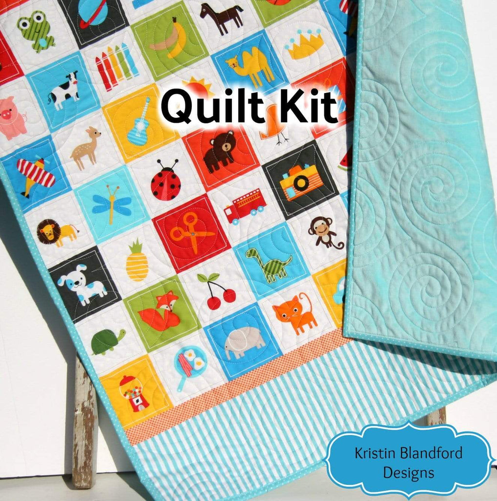 Kristin Blandford Designs Baby Quilt Kits I Spy Quilt Kit for Boys, Panel Beginner Project, Sewing Ideas, Simple Quick and Easy Quilting, Animals Sports, Kids Blanket Kit Soft Minky