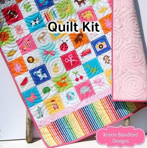 Kristin Blandford Designs Baby Quilt Kits I Spy Quilt Kit for Girls, Panel Beginner Project, Sewing Ideas, Simple Quick and Easy Quilting, Animals Sports, Kids Blanket Kit Soft Minky