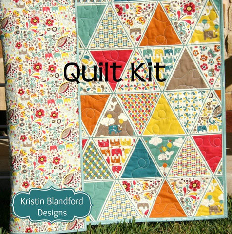 Kristin Blandford Designs Baby Quilt Kits Organic Quilt Kit, Frolic Birch Fabrics, Cheater Triangle Patchwork, Blanket DIY Wholecloth, Elephants Balloons Flowers, Modern Girl