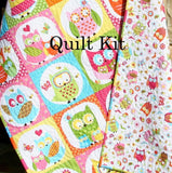 Kristin Blandford Designs Baby Quilt Kits Owl Quilt Kit, Girl Whoo Loves You, Northcott, Michele Scott, Panel Stripe, Quick Easy Fun, Beginner Project, Pink Yellow Aqua, Baby Toddler