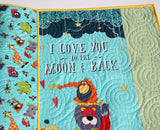 Kristin Blandford Designs Baby Quilt Kits Panel Quilt Kit, Baby Blanket to Make Yourself, Beginner Craft Project, Safari Animals, I Love You to the Moon and Back, Elephant Jungle