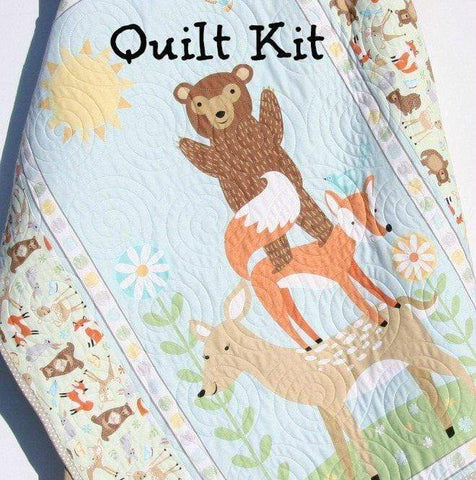 Kristin Blandford Designs Baby Quilt Kits Quilt Kit, FLANNEL, Baby Blanket Panel, Quick Easy, Woodland Forest Fox Deer Bear Owl Outdoor Brown Grey Gray Green Sweet Meadow Boy or Girl