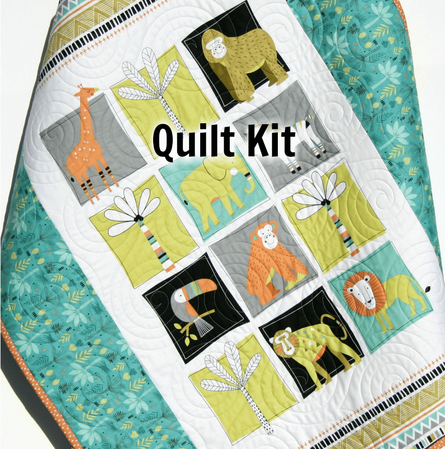 Kristin Blandford Designs Baby Quilt Kits Quilt Kit for Beginners, Safari Animals, Baby Bedding Blanket, Jungle Fabrics, Lion Giraffe Monkey Elephant Zebra, Nursery Sewing Project