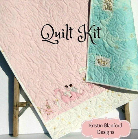 Kristin Blandford Designs Baby Quilt Kits Quilt Kit Sarah Jane Pink Blue Panel Stripe Blanket Baby Project Beginner Simple I Love You to the Stars Magic Parade Unicorn Horses Gold