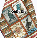 Kristin Blandford Designs Baby Quilt Kits Rodeo Baby Quilt Kit, Panel Quick Easy Beginner Sewing Project, Western Roundup Boy Nursery Bedding Decor Make Yourself DIY Quilting Fabric