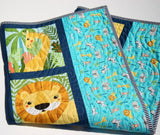 Kristin Blandford Designs Baby Quilt Kits Safari Quilt Kit, Jungle Animals, Giraffe Lion Zebra Elephant, Nursery Crib Blanket, Complete Starter Kit, Sewing Crafts to Make Yourself