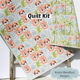 Kristin Blandford Designs Baby Quilt Kits SALE Easy Quilt Kit, Faux Patchwork Panel, Miney Moe Boy, Crib Blanket Kit, Sewing Quilting Project, Lion Tiger Hippo Animals, Cheater Panel