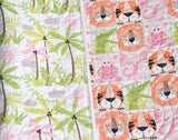 Kristin Blandford Designs Baby Quilt Kits SALE Simple Quilt Kit, Panel Faux Patchwork, Miney Moe Girl, Crib Blanket Kit, Sewing Quilting Project, Tiger Hippo Animals, Cheater Panel