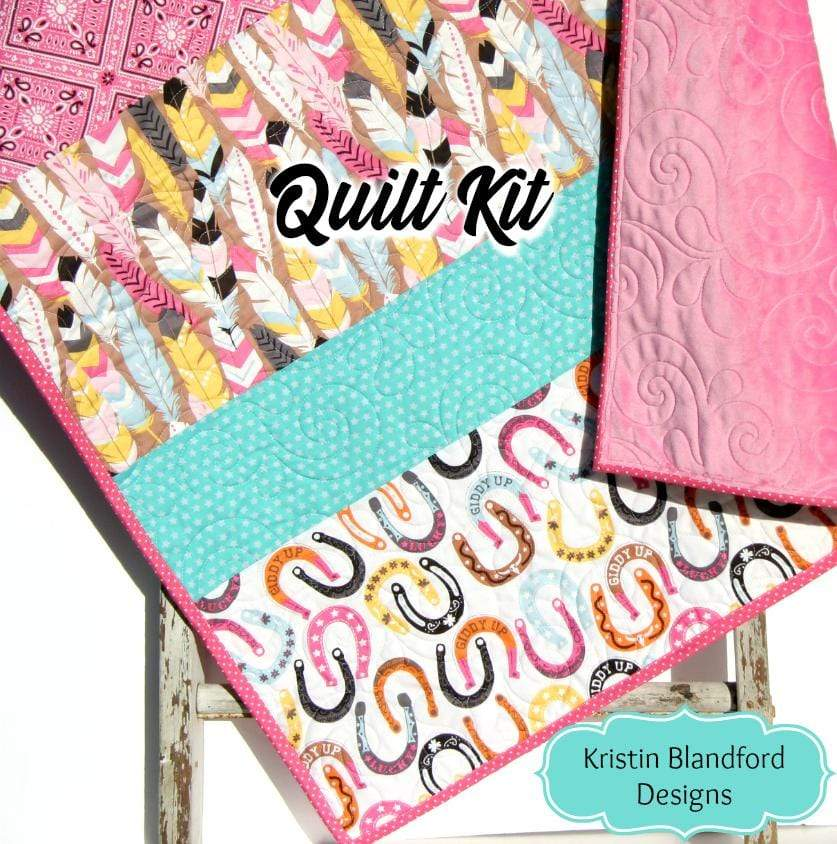 Kristin Blandford Designs Baby Quilt Kits Striped Quilt to Make, Quilt Kit, Western Girl Fabrics, Modern Quilt Pattern, Soft Minky, Beginner Sewing Project, Baby Toddler, Shower Gift
