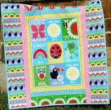 Kristin Blandford Designs Baby Quilt Kits Sunshine Day Quilt Kit, Girl Studio E Fabrics, Panel Quick Simple Easy Beginner Project, Owl Frog Rainbow Ladybug, Pink Aqua Yellow Whimsy
